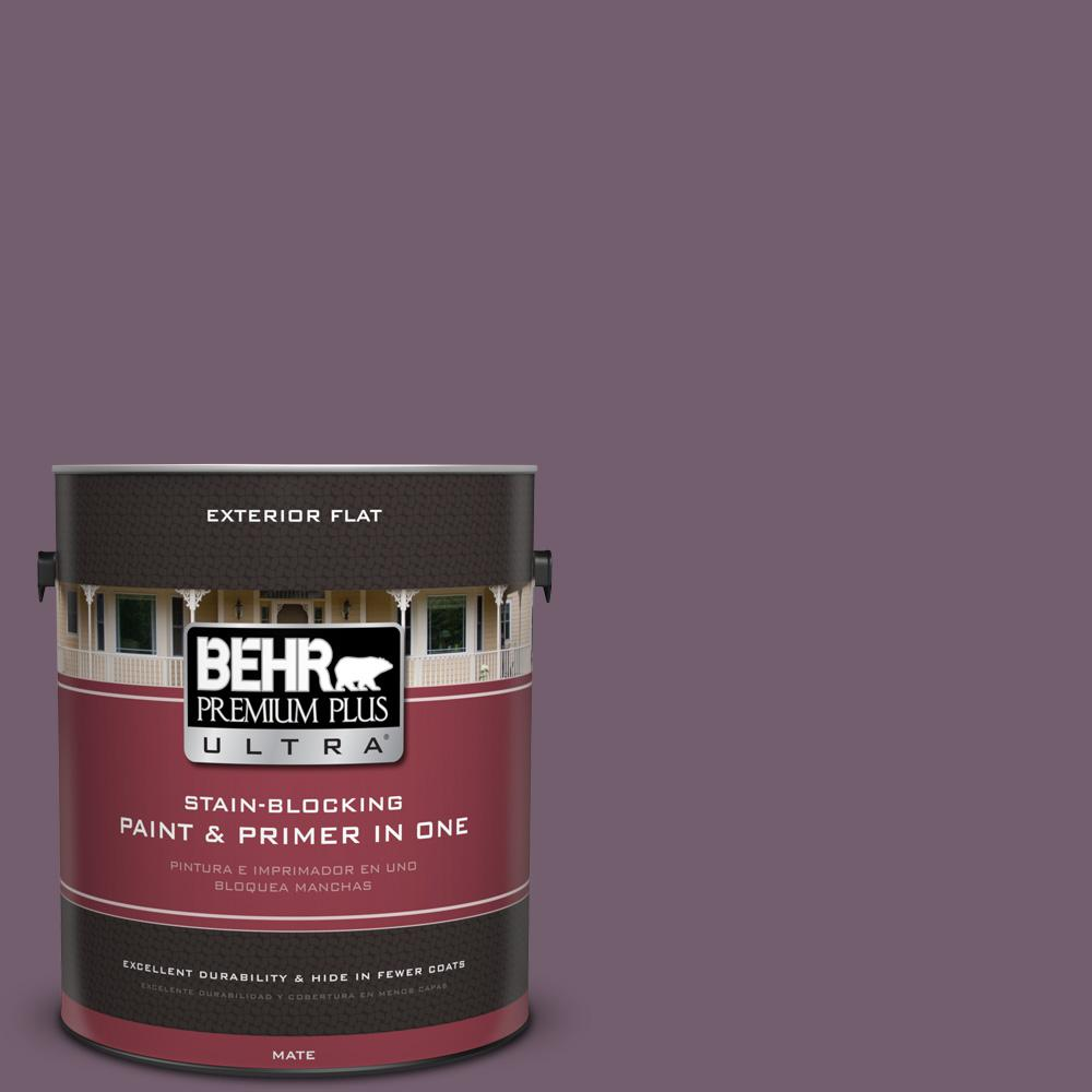 1 gal. #MQ1-38 Smoked Mulberry Flat Exterior Paint and Primer in
