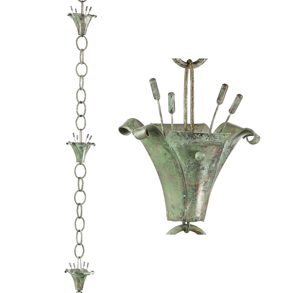 Flowers Pure Blue Verde Copper 8.5 ft. Rain Chain Leader