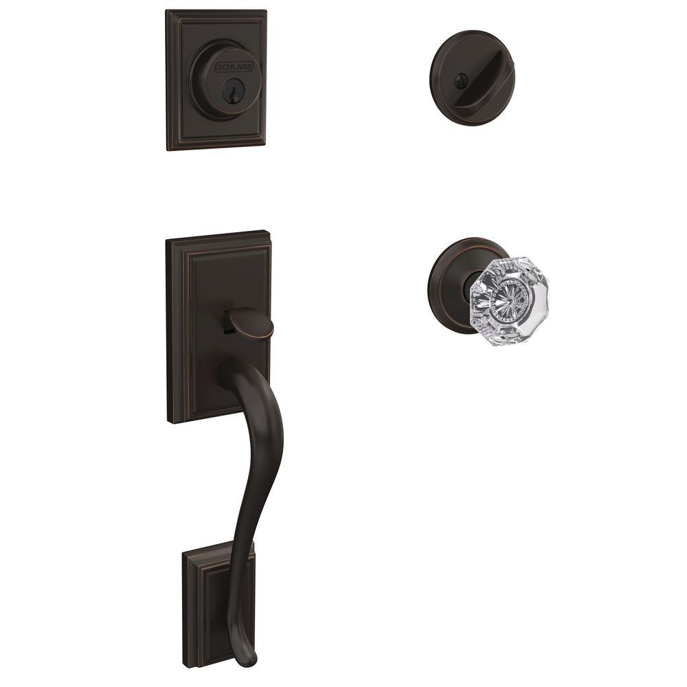 Custom Addison Aged Bronze Single Cylinder Door Handleset with Alexandria Glass Door Knob