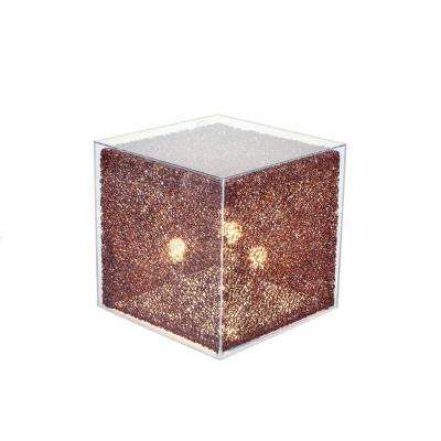 20 in. Coffee Cube Stand Floor Lamp with Clear Acrylic Cover-Pictured with Warm White Bulbs