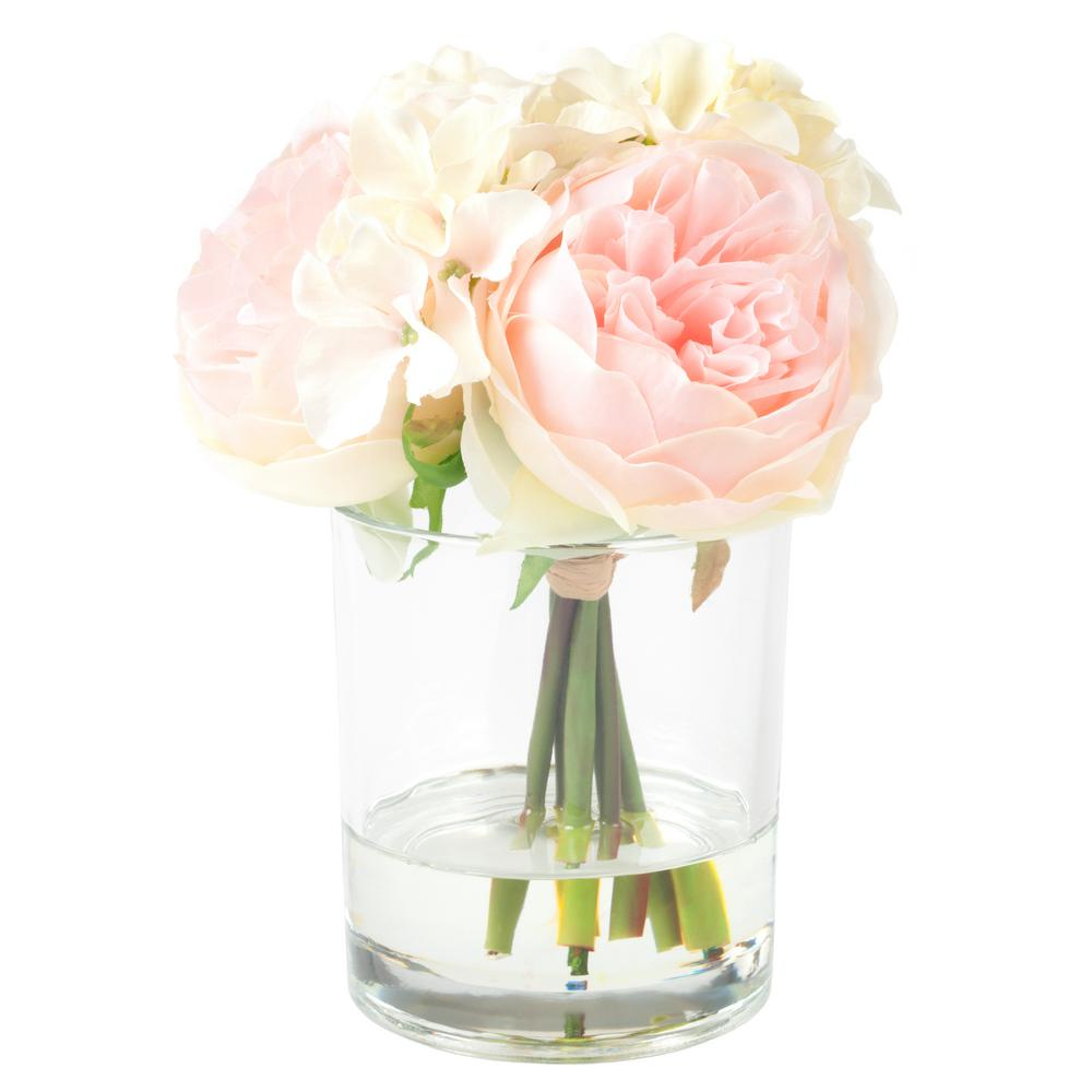 Pure Garden 7.5 in. Hydrangea and Rose Floral Pink and Cream Arrangement