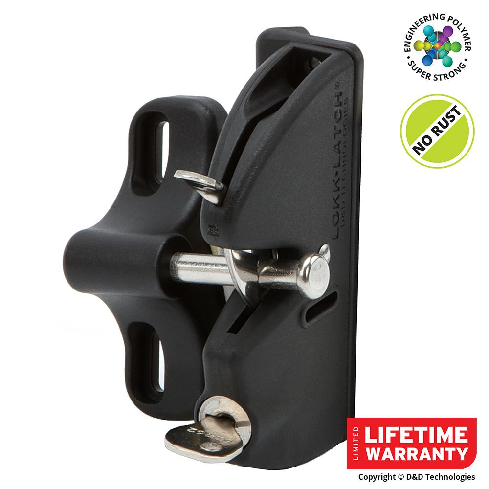 D&D Black Key-Lockable Gate Latch