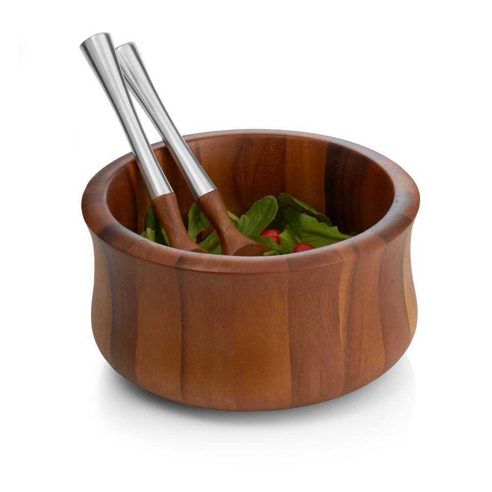 Nara 10.5 in. Wood Salad Bowl and Servers