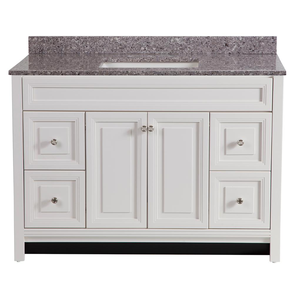Home Decorators Collection Brinkhill 49 in. W x 22 in. D Bathroom Vanity in Cream with Stone Effect Vanity Top in Mineral Gray with White Sink