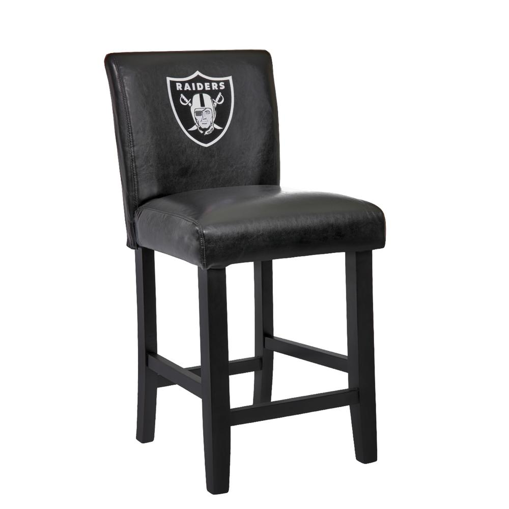 Oakland Raiders 24 in. Black Bar Stool with Faux Leather Cover