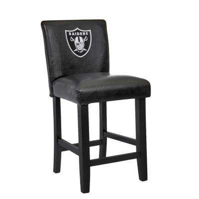 Oakland Raiders 24 in. Black Bar Stool with Faux Leather Cover (Set of 2)
