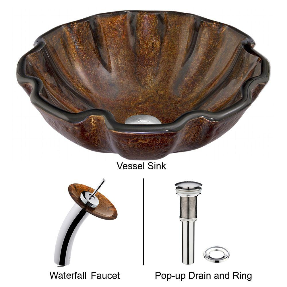 VIGO Walnut Shell Vessel Sink in Brown with Waterfall Faucet in Chrome
