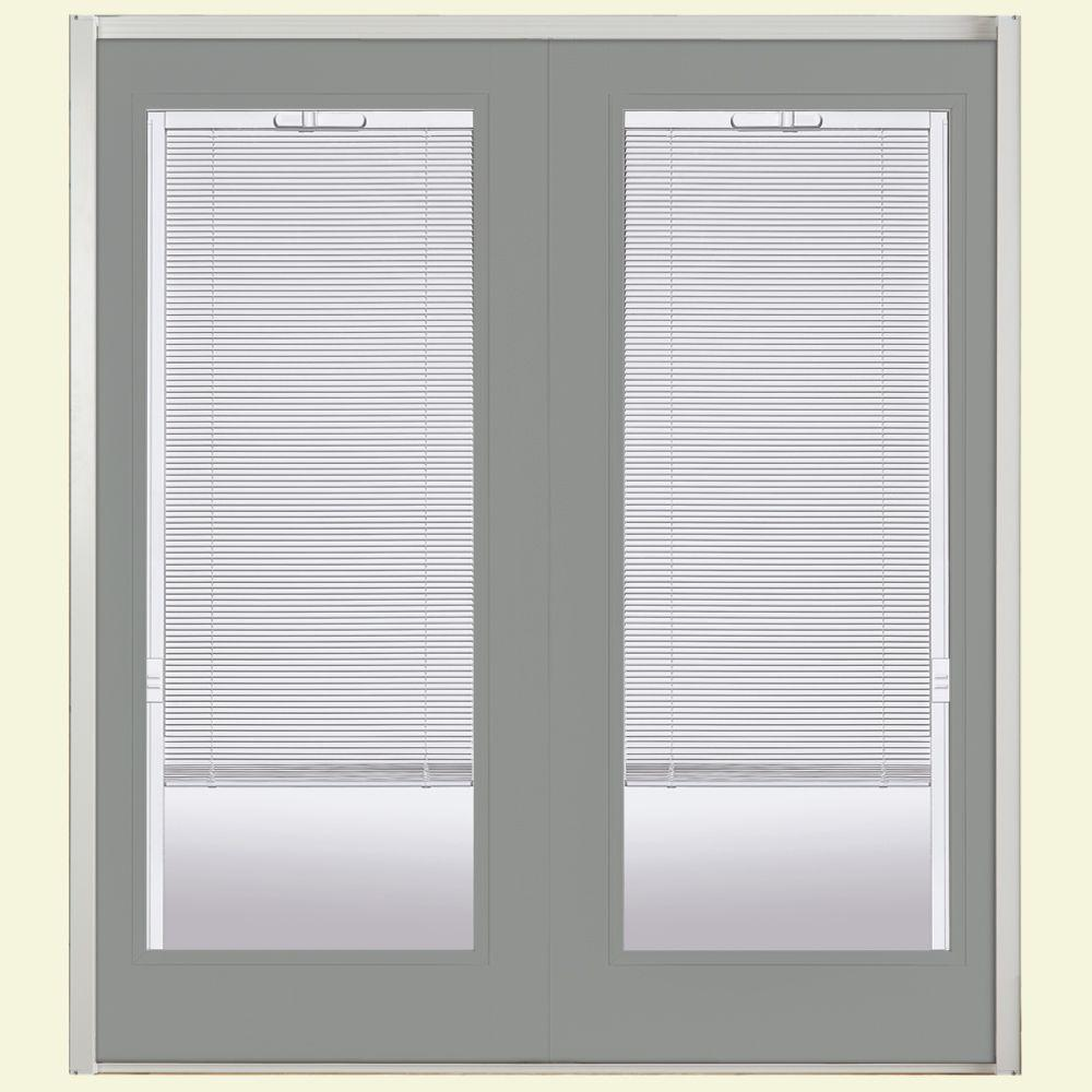Masonite 60 in. x 80 in. Silver Cloud Prehung Left-Hand Inswing Mini Blind Steel Patio Door with No Brickmold