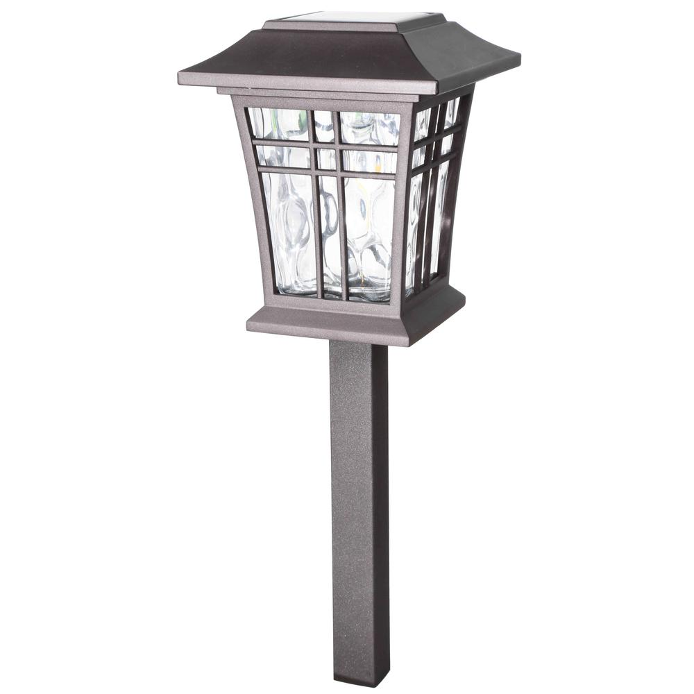 hampton bay Solar Bronze Outdoor Integrated LED 3000K 12-Lumens Warm White Landscape Path Light with Water Glass Lens