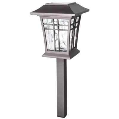 Solar Bronze Outdoor Integrated LED 3000K 12-Lumens Warm White Landscape Path Light with Water Glass Lens