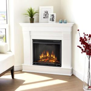 Real Flame Chateau 41 inch Corner Electric Fireplace in White by Real Flame