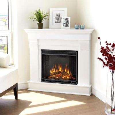 Chateau 41 in. Corner Electric Fireplace in White