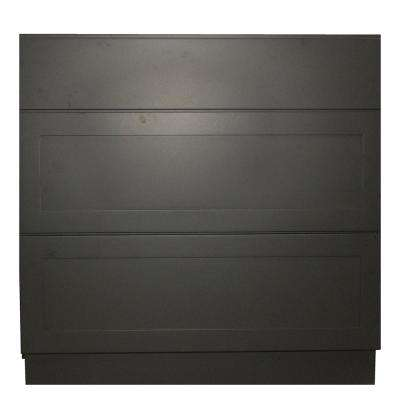Black Satin Shaker II - Ready to Assemble 36x34.5x24 in. 3 Drawer Base Cabinet