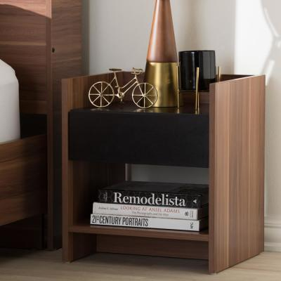 Vanda 1-Drawer 1-Shelf Black Nightstand