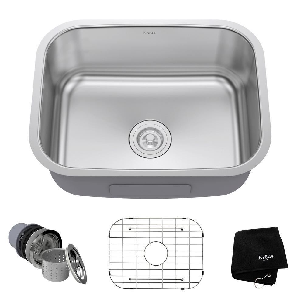 Kraus Undermount Stainless Steel 23 inch Single Bowl Kitchen Sink Kit by KRAUS