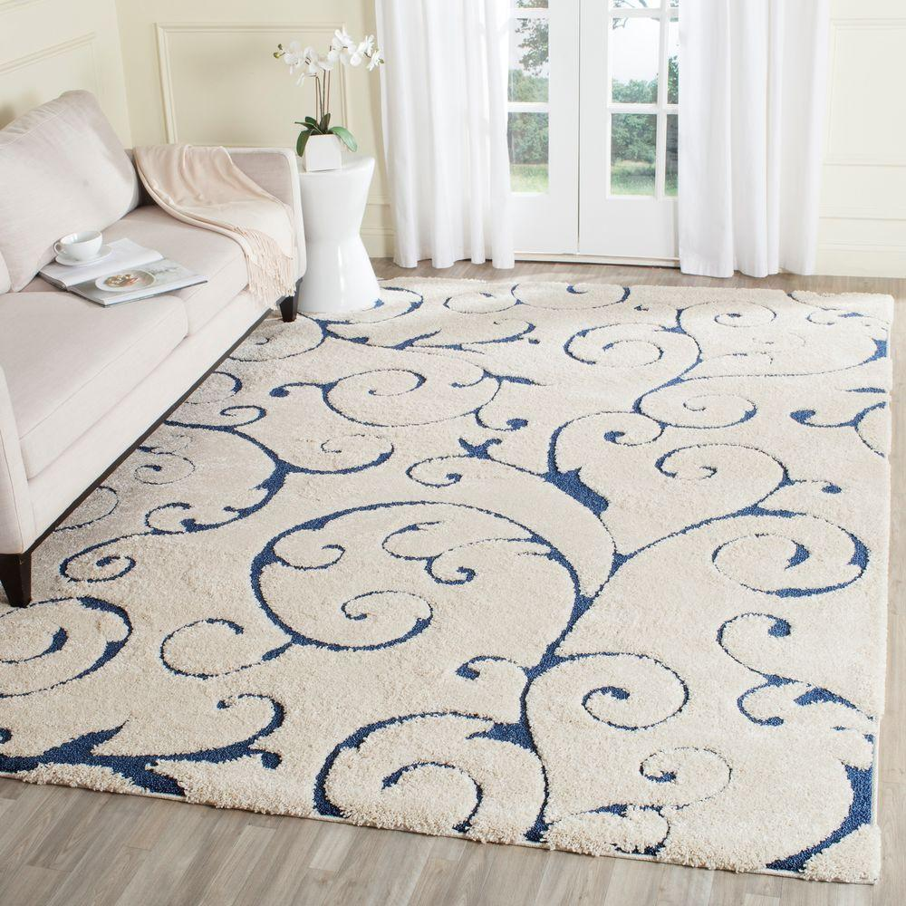 Safavieh Florida Shag Cream Blue 8 Ft X 10 Ft Area Rug