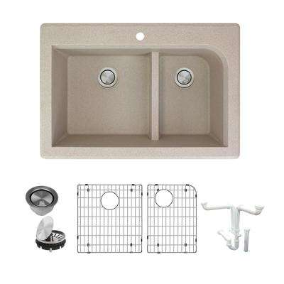 Radius All-in-One Drop-in Granite 33 in. 1-Hole 1-3/4 in. J-Shape Double Bowl Kitchen Sink in Cafe Latte