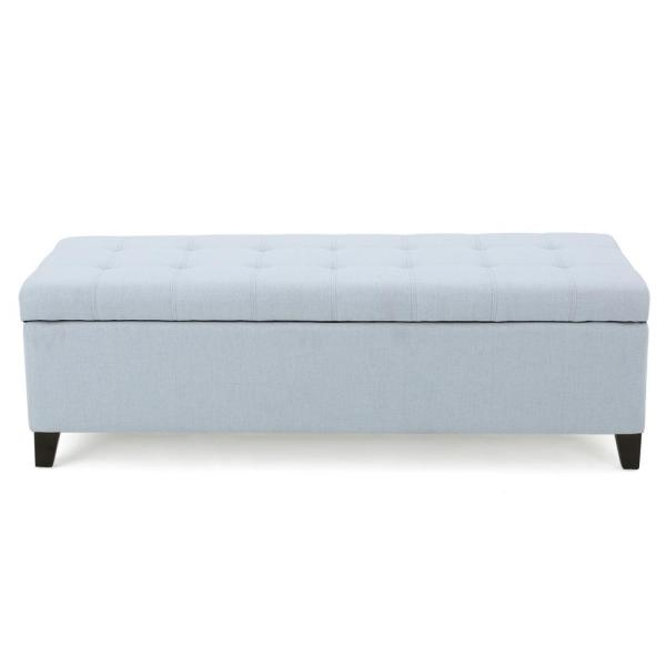 Noble House Mission Light Sky Blue Fabric Storage Bench 299530