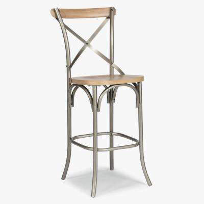 French Quarter 30 in. White Wash Natural Bar Stool