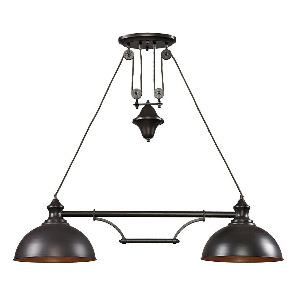 Titan Lighting Farmhouse Light Oiled Bronze Ceiling Mount Island - 2 light island chandelier