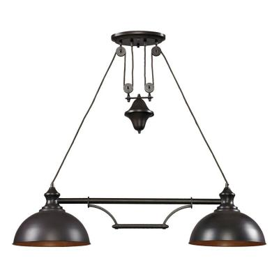 Farmhouse 2-Light Oiled Bronze Ceiling Mount Island-Light