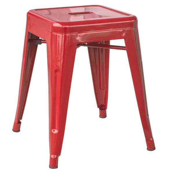 Loft Style 18 in. Red Stackable Metal Bar Stool