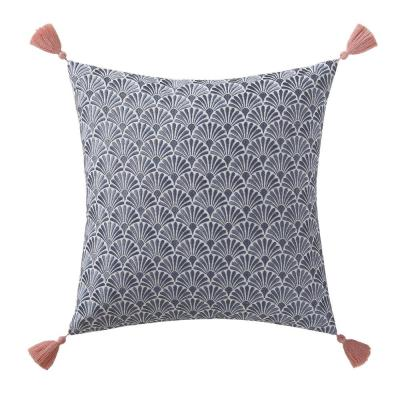Indienne Navy and White Floral Hypoallergenic Down Alternative 16 in. x 18 in. Throw Pillow