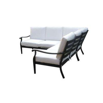 Riley 3-Piece Metal Outdoor Sectional Set with Cushions Included, Choose Your Own Color