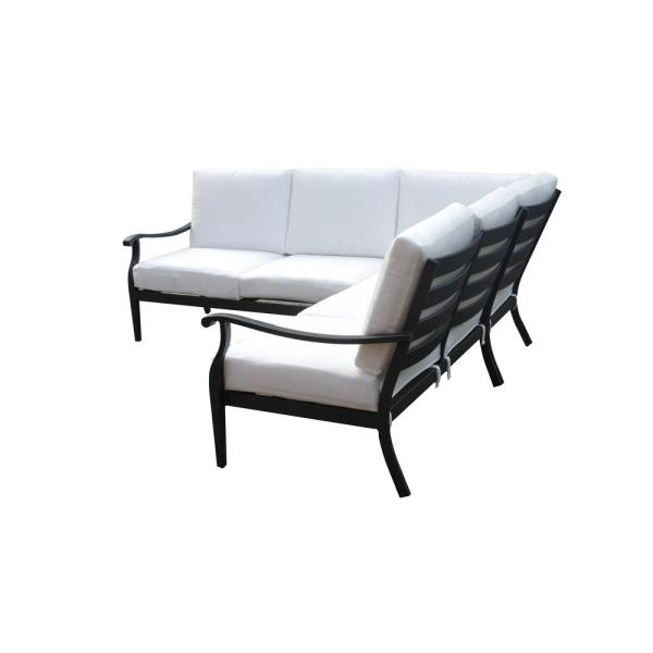Hampton Bay Riley 3-Piece Metal Outdoor Sectional Set with Cushions Included, Choose Your Own Color