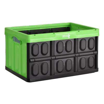 46 l 11.6 in. H x 20.8 in. W x 14.1 in. D Collapsible Storage Crate in Black/Green