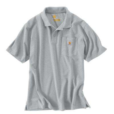 Men's Regular Small Heather Gray Polyester/Cotton Short-Sleeve T-Shirt