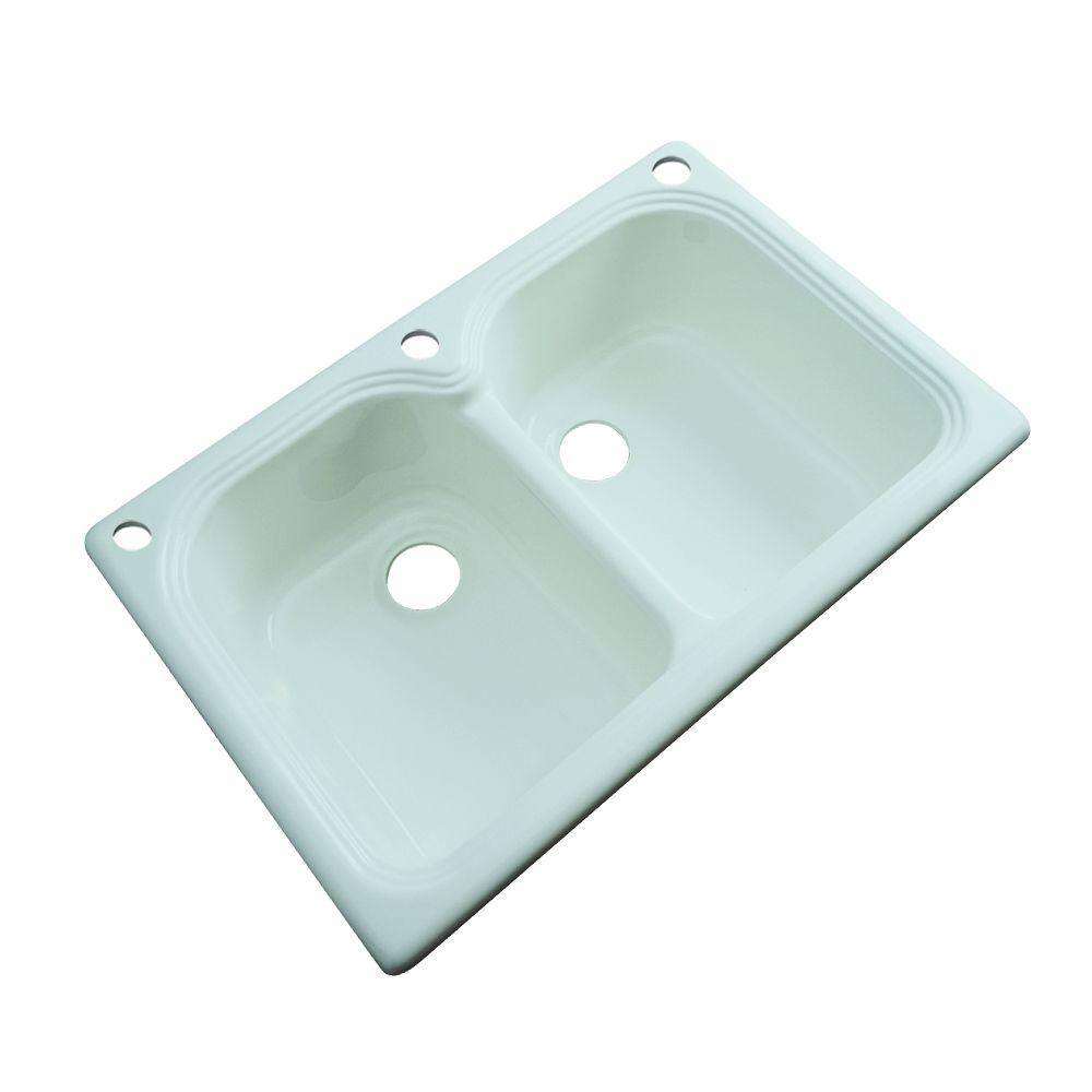 Thermocast Hartford Drop-in Acrylic 33x22x9 in. 3-Hole Double Basin Kitchen Sink in Seafoam Green