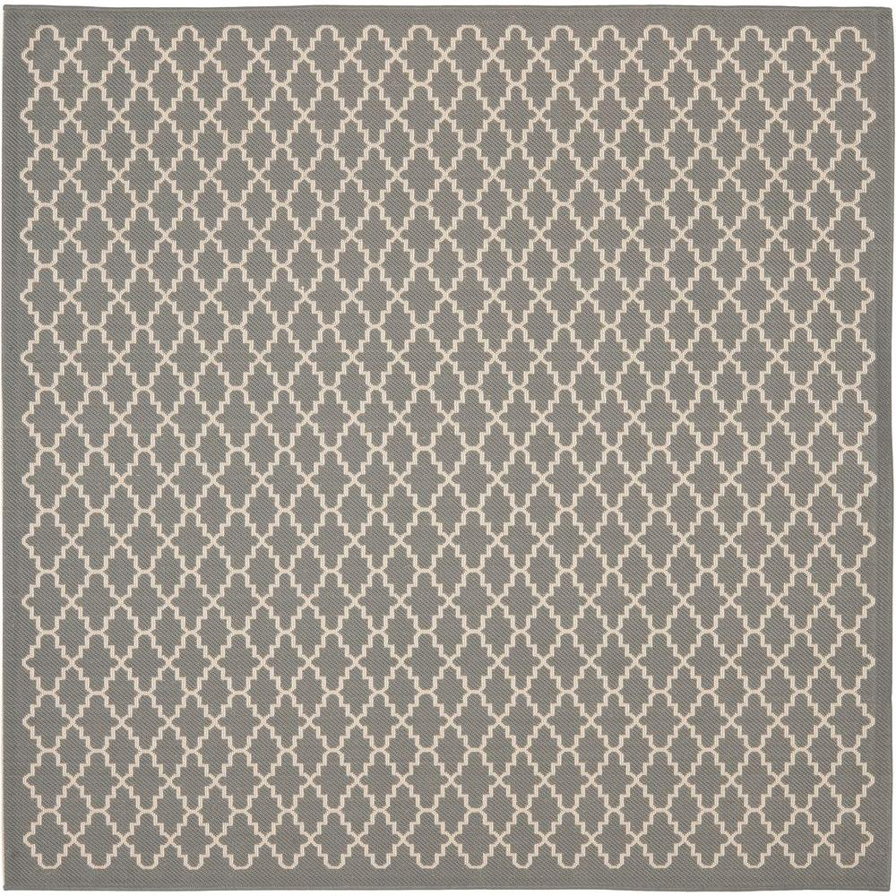 Courtyard Anthracite/Beige 8 ft. x 8 ft. Indoor/Outdoor Square Area Rug