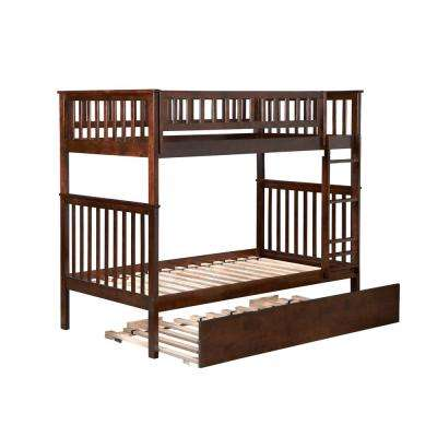 Woodland Walnut Twin Over Twin Bunk Bed with Twin Size Urban Trundle Bed