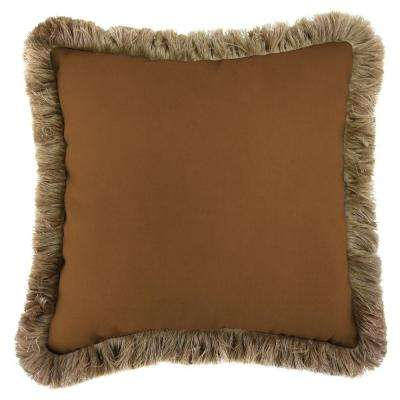 Sunbrella Canvas Teak Square Outdoor Throw Pillow with Heather Beige Fringe