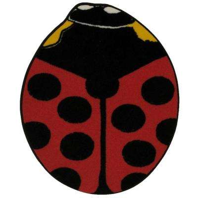 Fun Time Shape Red Lady Bug 35 in. x 39 in. Area Rug
