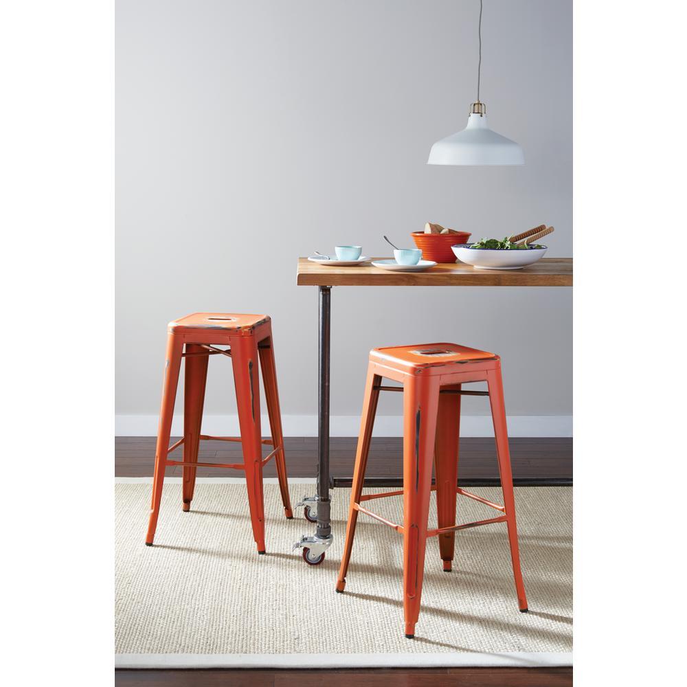 Bristow 26 in. Antique Orange Metal Barstools (2-Pack)