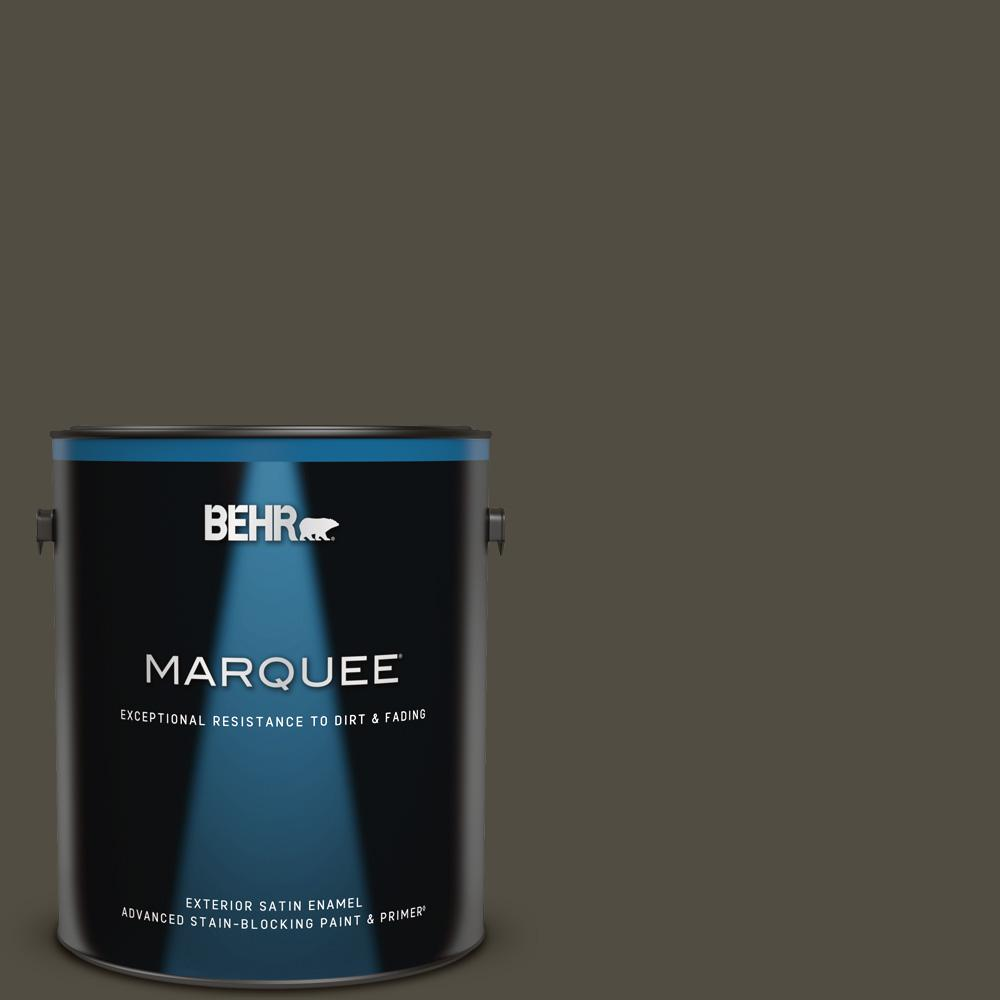 Behr Marquee 1 Gal S H 760 Olive Leaf Satin Enamel Exterior Paint Primer 945301 The Home Depot