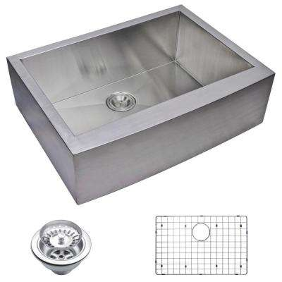 Farmhouse Apron Front Zero Radius Stainless Steel 30 in. Single Bowl Kitchen Sink with Strainer and Grid in Satin