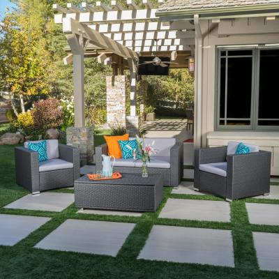 Murano Multi-Grey 4-Piece Wicker Patio Conversation Set with Grey Cushions