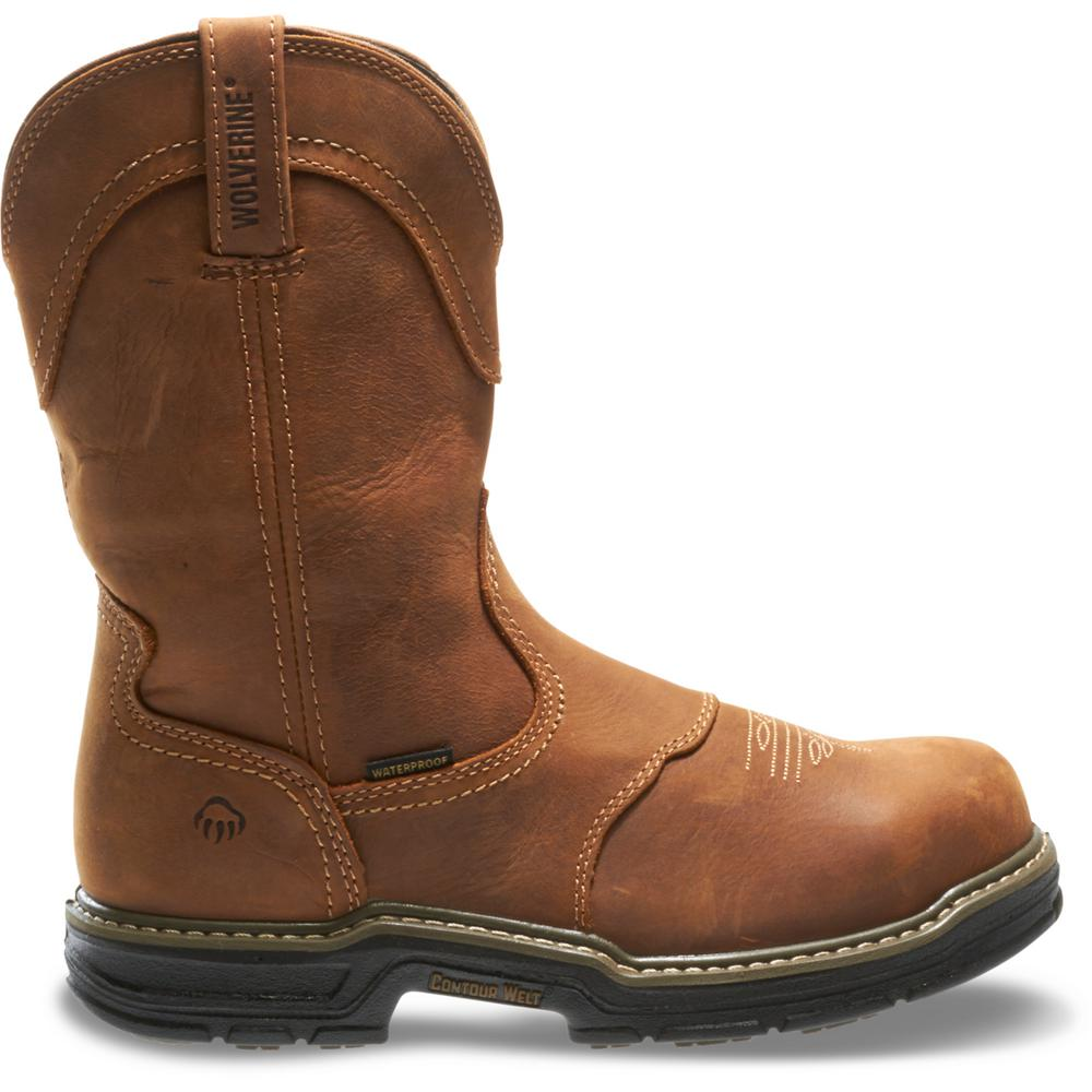 c7ae2c82b82 Wolverine Men's Anthem Size 9.5EW Brown Full-Grain Leather Waterproof Steel  Toe 10 in. Contour Welt Work Boot