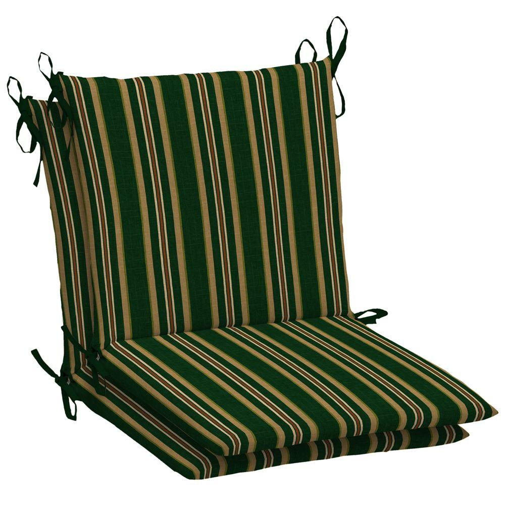 Arden Hunter Green Stripe Mid Back Outdoor Chair Cushion (2-Pack)-DISCONTINUED