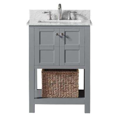 Makena 25 in. W x 22 in. D x 34.2 in. H Bath Vanity in Taupe Grey with Marble Vanity Top in White with White Basin