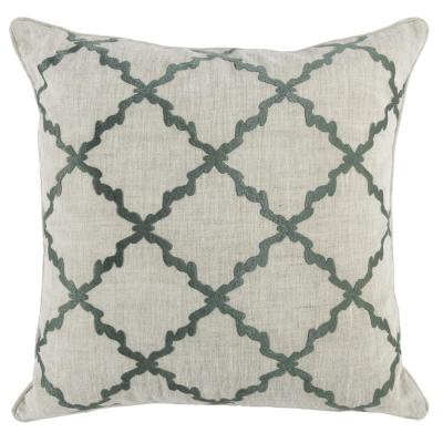Mirage Bay Green/Ivory 22 in. x 22 in. Square Linen Embroidery Decorative Pillow