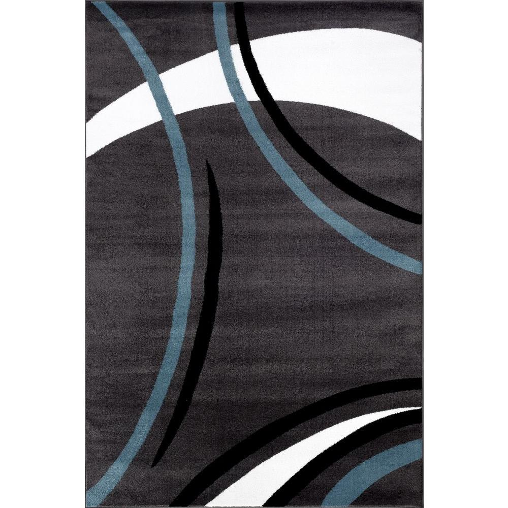 World Rug Gallery Contemporary Modern Wavy Circles Gray 3 Ft X 5 Ft
