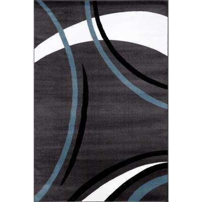 Contemporary Modern Wavy Circles Gray 5 ft. 3 in. x 7 ft. 3 in. Indoor Area Rug