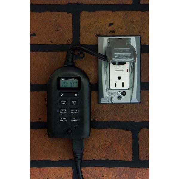 Mytouchsmart Simple Set Plug In Dual, Outdoor Timer For Lights Home Depot