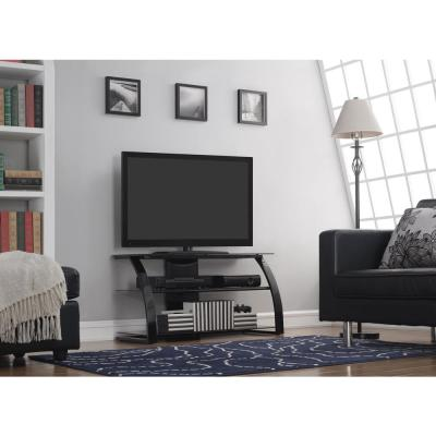 42 in. High Gloss Black Glass TV Stand Fits TVs Up to 46 in. with Cable Management