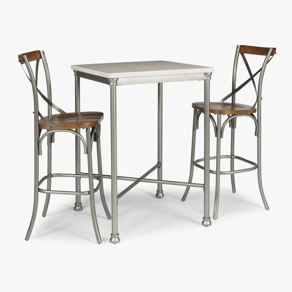 Orleans 3-Piece White and Gray Bar Table Set