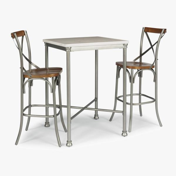 Home Styles Orleans 3 Piece White And Gray Bar Table Set 5060 358